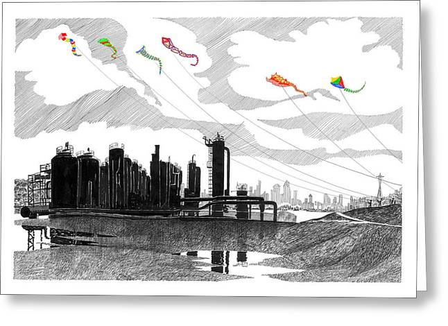 Kite Greeting Cards - Gas Works Park Seattle Kite flying  Greeting Card by Jack Pumphrey
