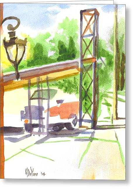 Forgotten Paintings Greeting Cards - Gaslight at the Truck Stop Greeting Card by Kip DeVore