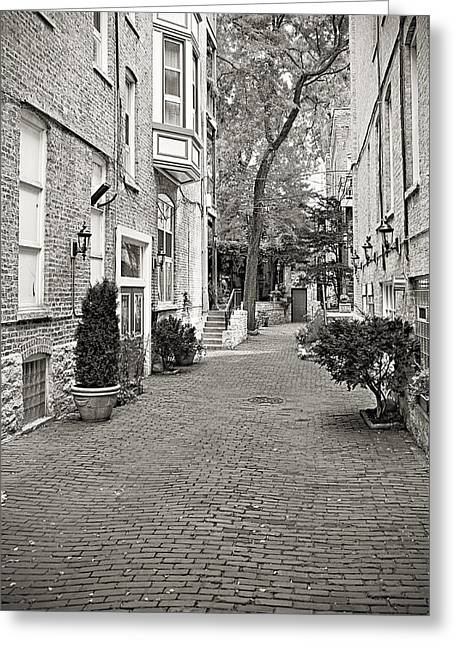 Buildings And Narrow Lanes Greeting Cards - Gaslight Court Chicago Old Town Greeting Card by Christine Till