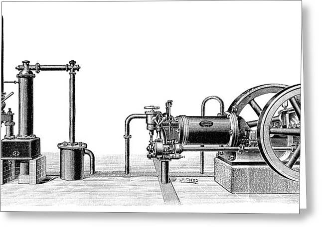 Gasogene And Gas Engine Greeting Card by Science Photo Library