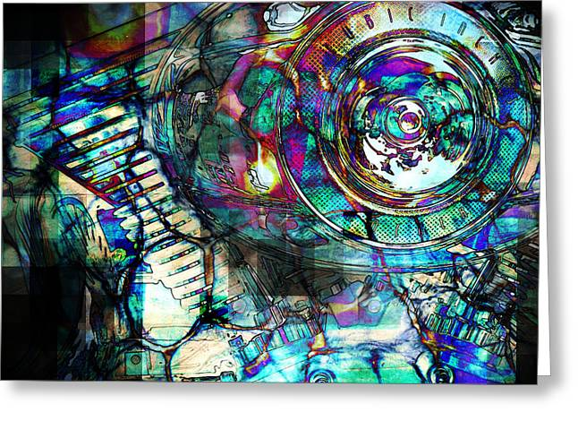 Component Digital Art Greeting Cards - Gasoline Motorcycle Engine Greeting Card by Phil Perkins