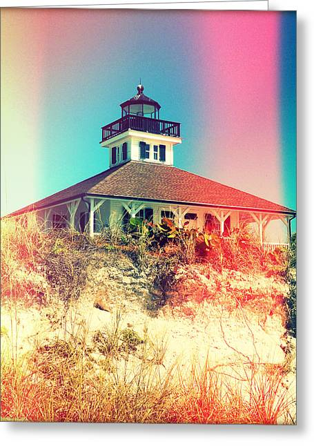 Florida House Greeting Cards - Gasparilla Lighthouse Photography Light Leaks1 Greeting Card by Chris Andruskiewicz