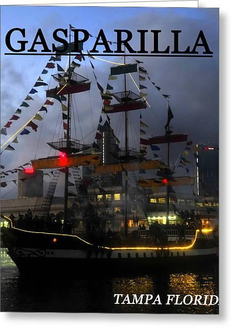 Pirate Ships Greeting Cards - Gasparilla ship print work B Greeting Card by David Lee Thompson