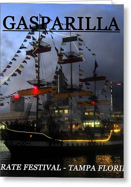 Pirate Ships Greeting Cards - Gasparilla ship print work C Greeting Card by David Lee Thompson