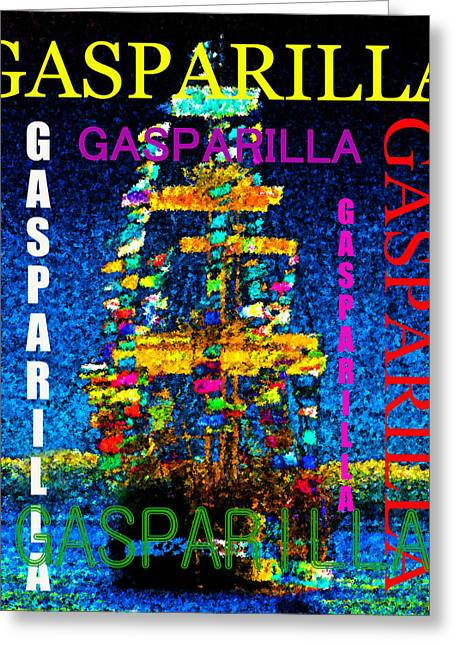 Tall Ship Greeting Cards - Gasparilla Ship word splash Greeting Card by David Lee Thompson