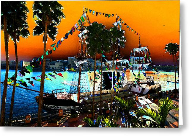Pirate Ship Digital Greeting Cards - Gasparilla Sunset Greeting Card by David Lee Thompson