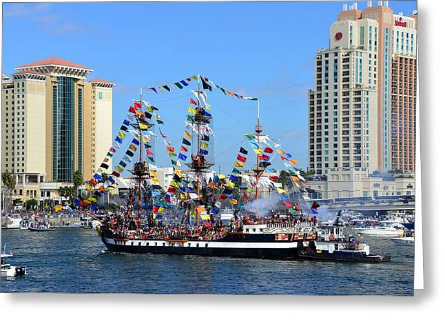 Pirate Ship Greeting Cards - Gasparilla work D Greeting Card by David Lee Thompson