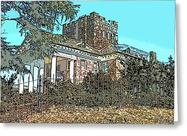Stone House Pyrography Greeting Cards - Gassaway Mansion Greeting Card by Greg Joens
