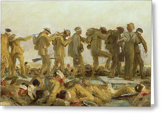 Trenches Paintings Greeting Cards - Gassed    An Oil Study Greeting Card by John Singer Sargent