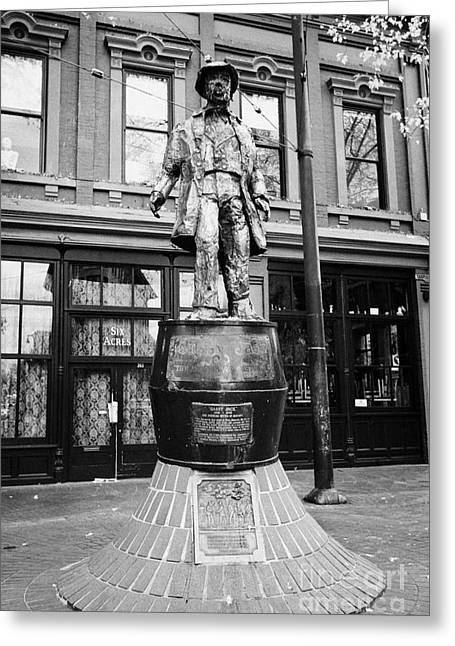 North Vancouver Greeting Cards - gassy jack statue in old gastown Vancouver BC Canada Greeting Card by Joe Fox