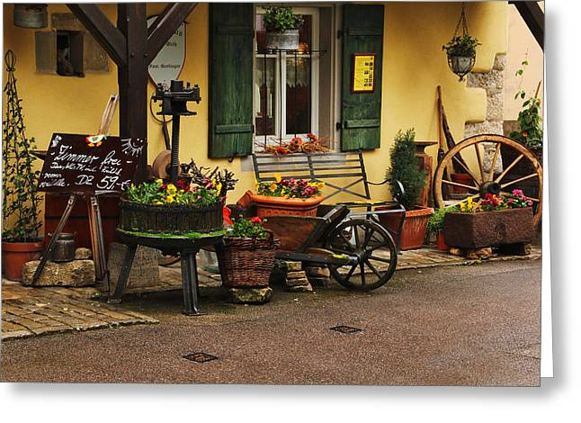 Wine Cart Greeting Cards - Gast Haus Display in Rothenburg Germany Greeting Card by Greg Matchick
