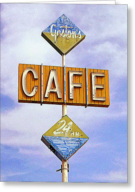 Old Roadway Greeting Cards - Gastons Cafe Greeting Card by Ron Regalado