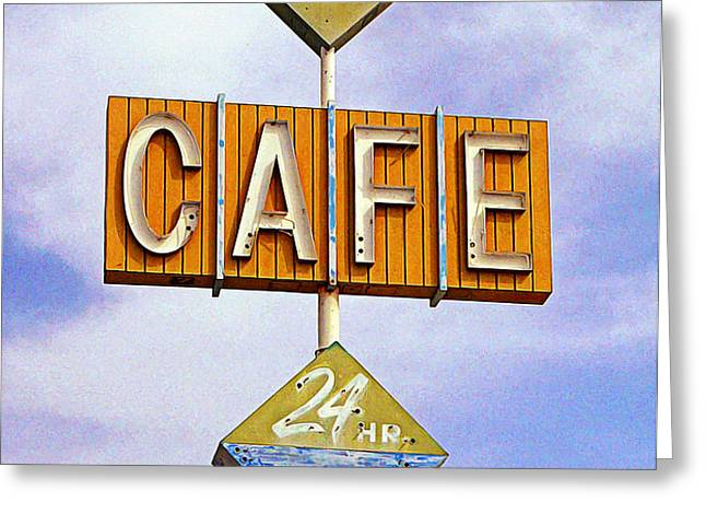 Gaston's Cafe Greeting Card by Ron Regalado