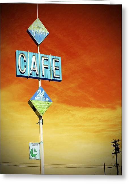 Nostalgic Sign Greeting Cards - Gastons Cafe  Greeting Card by Charlette Miller