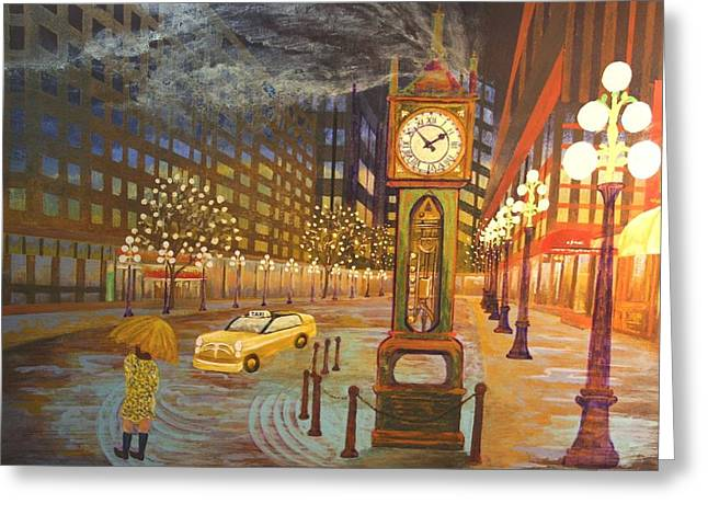 Vancouver Mixed Media Greeting Cards - Gastown 2AM Greeting Card by Bob Craig