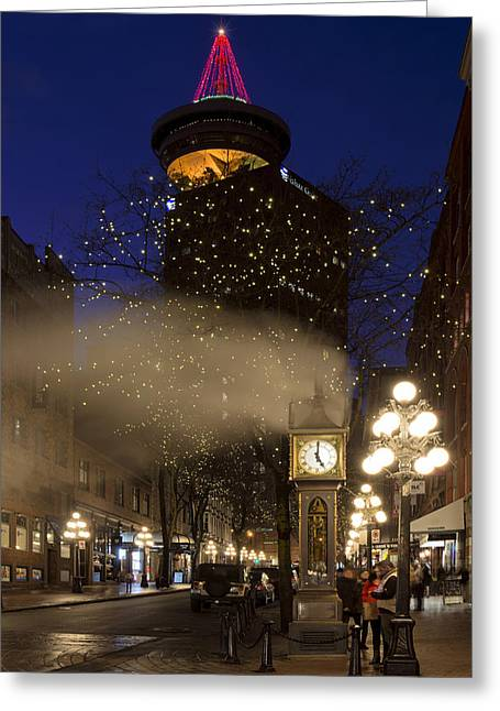 Lights Of Vancouver Greeting Cards - Gastown at Five Greeting Card by Paul W Sharpe Aka Wizard of Wonders