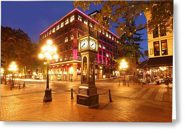 Vancouver Night Scene Greeting Cards - Gastown Greeting Card by Dan Breckwoldt