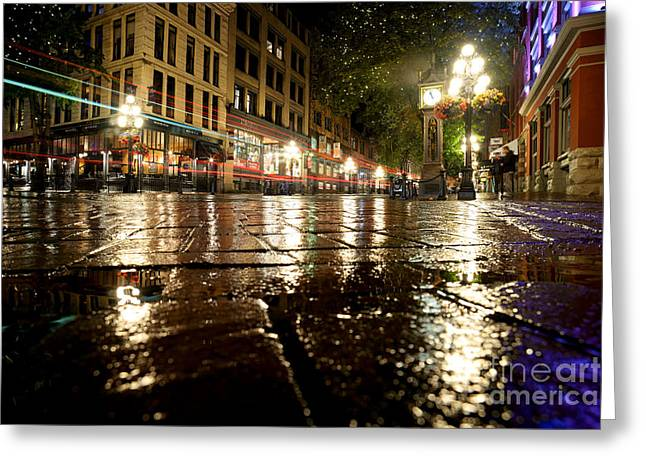 Vancouver At Night Greeting Cards - Gastown Rainy Night 2 Greeting Card by Terry Elniski