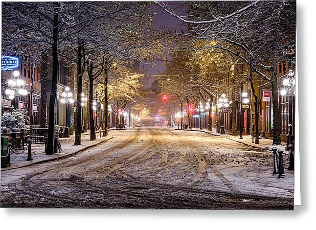 Night Lamp Greeting Cards - Gastown Snow Greeting Card by Alexis Birkill