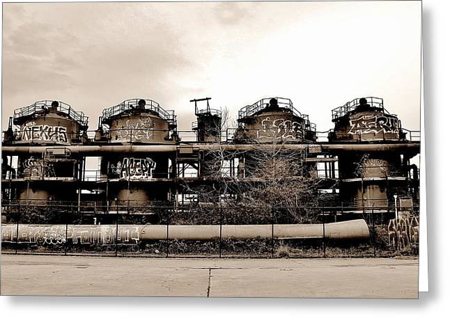 Industrial Icon Photographs Greeting Cards - Gasworks Seattle Greeting Card by Benjamin Yeager