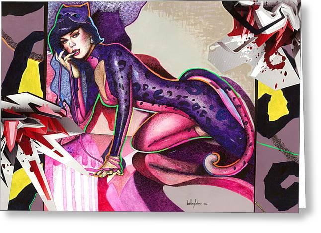Grafity Greeting Cards - Gata Katy Perry Greeting Card by Daniel Levy policar