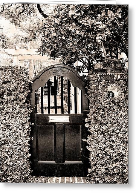 William Dey Prints Greeting Cards - GATE 69 Charleston SC Greeting Card by William Dey