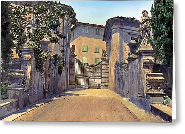 Sculpture Paintings Greeting Cards - Gate and Lions Greeting Card by Terry Reynoldson