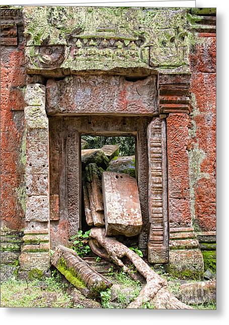 Asien Greeting Cards - Gate at Angkor Ta Prohm Greeting Card by Joerg Lingnau