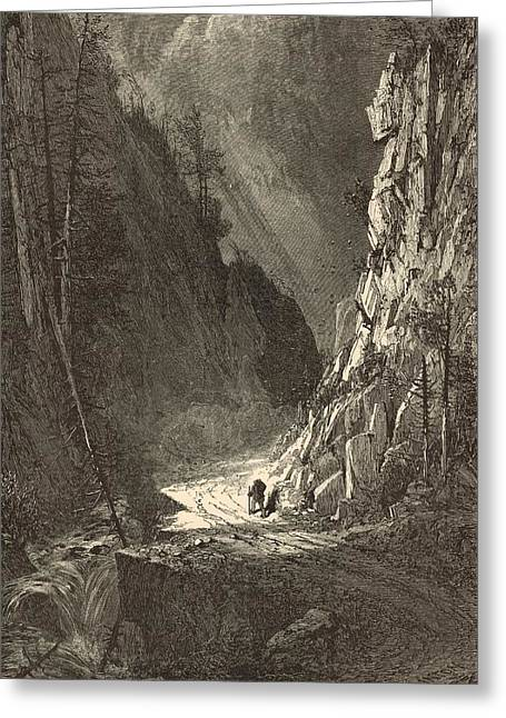 Mt Drawings Greeting Cards - Gate of the Crawford Notch 1872 Engraving Greeting Card by Antique Engravings
