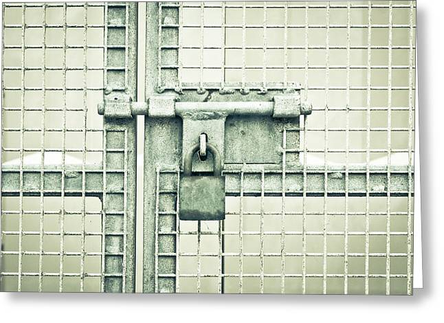 Gate Padlock Greeting Card by Tom Gowanlock