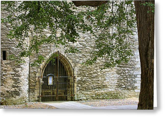 Medival Greeting Cards - Gate Talin Medival City Wall Greeting Card by Linda Phelps