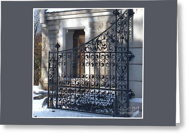 Gate To Cedar Hill Greeting Card by Marcel  J Goetz  Sr