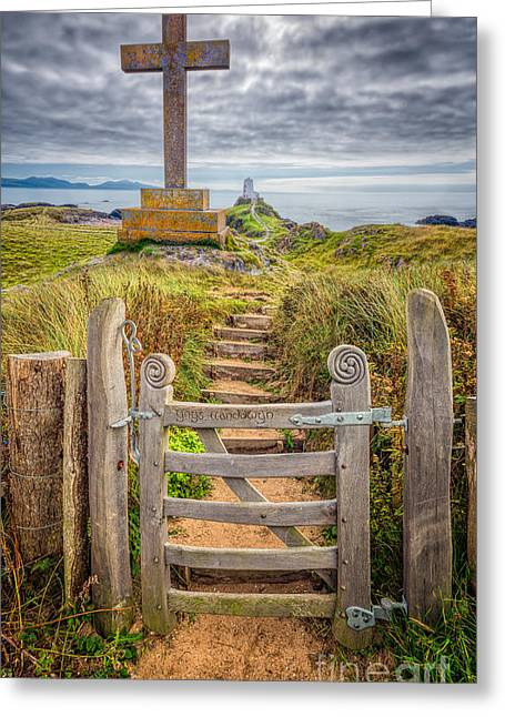 Stepping Stones Greeting Cards - Gate to Holy Island  Greeting Card by Adrian Evans