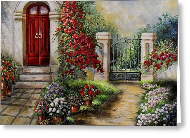 Wrapped Canvas Greeting Cards - Gate to the hidden Garden  Greeting Card by Gina Femrite