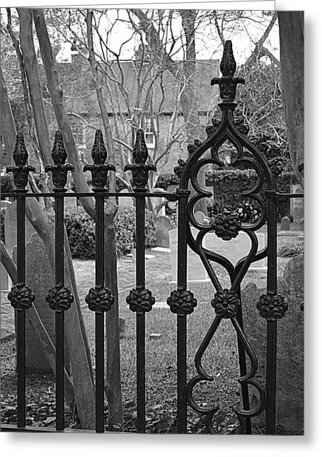 Antique Ironwork Greeting Cards - Gate to Tranquility Greeting Card by Linda Covino