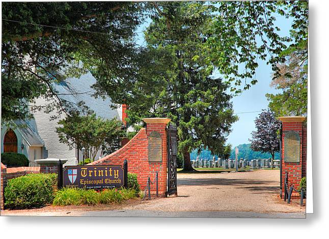 Religion Acrylic Prints Greeting Cards - Gate To Trinity Church Greeting Card by Steven Ainsworth