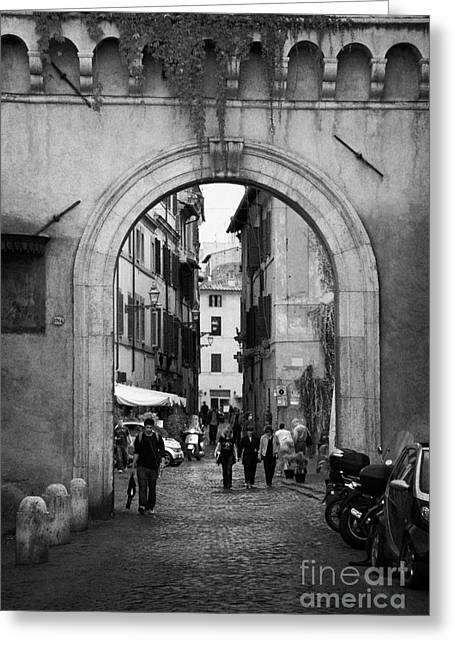 Trastevere Greeting Cards - Gate way entrance to Trastavere Rome Lazio Italy Greeting Card by Joe Fox