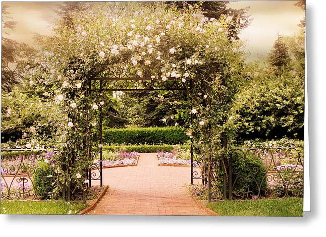Trellis Greeting Cards - Gated Garden Greeting Card by Jessica Jenney