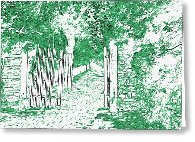 Fallen Leaf Mixed Media Greeting Cards - Gated Path Greeting Card by L Wright