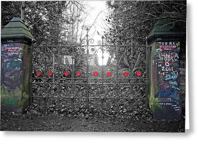 1960 Greeting Cards - Gates at the entrance to Strawberry Field Greeting Card by Ken Biggs