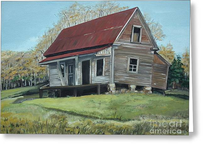 Wooden Building Paintings Greeting Cards - Gates Chapel - Ellijay GA - Old Homestead Greeting Card by Jan Dappen