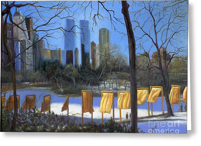 Warner Park Paintings Greeting Cards - Gates of New York Greeting Card by Marlene Book