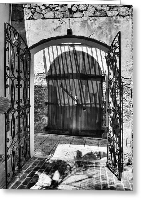 Charlotte Greeting Cards - Gates Of Saint Thomas 2 BW Greeting Card by Mel Steinhauer