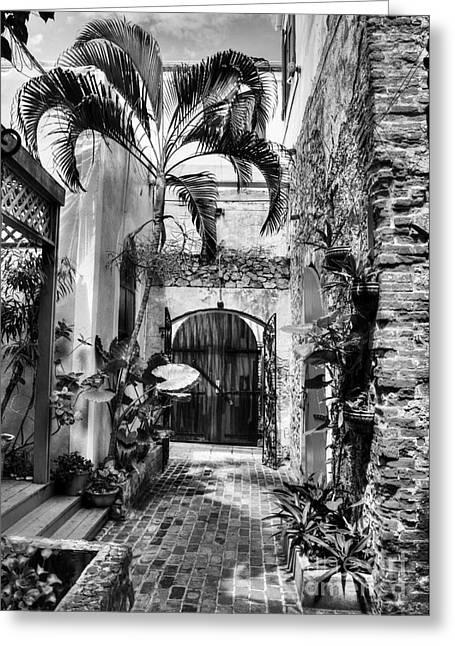Charlotte Amalie Greeting Cards - Gates Of St Thomas 1 BW Greeting Card by Mel Steinhauer