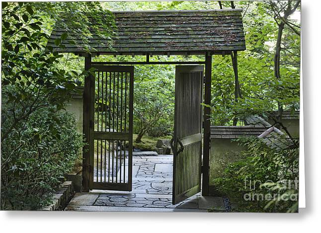 Most Greeting Cards - Gates of Tranquility Greeting Card by Sandra Bronstein