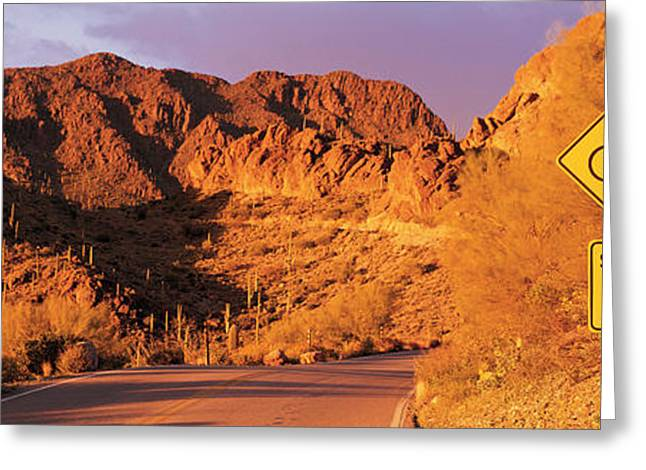 Roadway Greeting Cards - Gates Pass Road Tucson Mountain Park Greeting Card by Panoramic Images