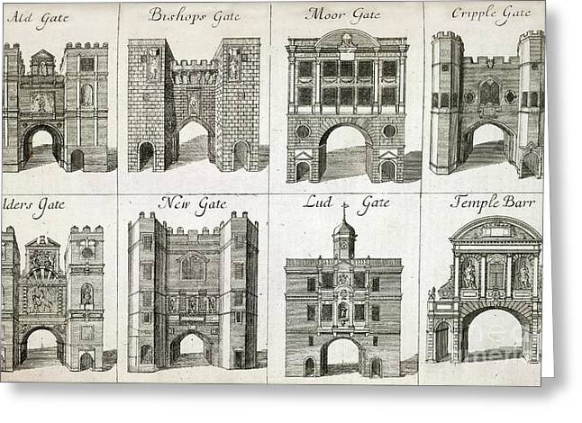 Medieval Temple Greeting Cards - Gates To The City Of London, Artwork Greeting Card by British Library