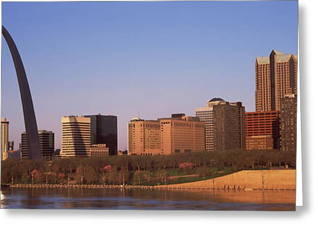 Mississippi River Scene Greeting Cards - Gateway Arch Along Mississippi River Greeting Card by Panoramic Images