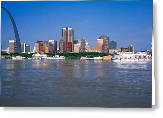 Gateway Arch Greeting Cards - Gateway Arch And City Skyline Viewed Greeting Card by Panoramic Images