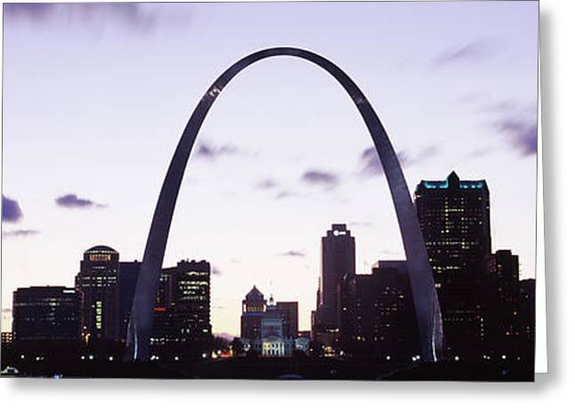 Gateway Arch Greeting Cards - Gateway Arch With City Skyline Greeting Card by Panoramic Images